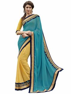Melluha Turquoise & Yellow Georgette Half And Half Designer Sari