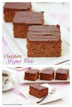 Moist and tender chocolate yogurt cake. A perfect accompaniment to a cup of coffee or as an after dinner treat. by jill