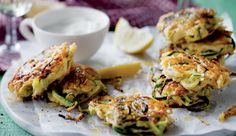 Minty garlic baby marrow latkes #recipe. Delicious served as canapes or as a vegetarian dish.