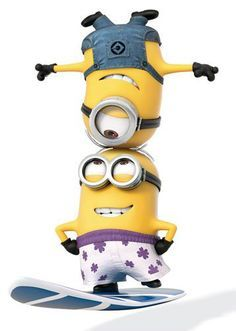 Minions surfing together at the beach - Despicable Me 2 movie