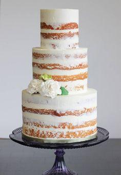 55 Delicious Naked Wedding Cakes | HappyWedd.com