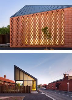 Harold Street Residence by Jackson Clements Burrows --Project notes- I really like the layout of the bricks. I like the warmth of the colour and the way the light penetrates through. Grid Design, Roof Design, House Design, Design Art, Cladding Panels, Hillside House, 21st Century Homes, Shed Homes, Space Architecture
