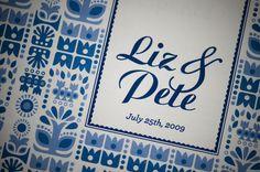 blue wedding invitations, pattern