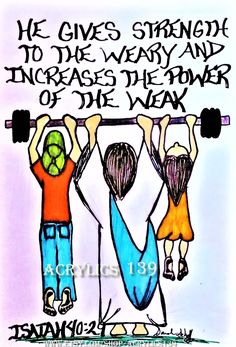 """""""He gives strength to the weary and increases the power of the weak."""" Isaiah 40:29 (Scripture doodle of encouragement/Bible journaling)"""