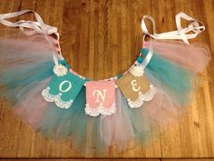 Baby's First Birthday High Chair Garland  and Banner; Burlap , Shabby Chic, Burlap, Lace and Ribbon, Banner tutu, Baby, Photo Prop on Etsy, $32.00