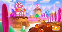 Promo art for CakeStory on Behance Game Background, Cartoon Background, Dessert Games, Candy Games, Cool Pictures Of Nature, Candy House, Game Ui Design, Environment Concept Art, Mini Games