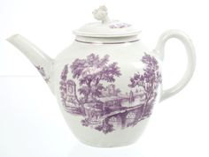 Lot 85 - 18th century Worcester Hancock purple printed teapot and cover with flower-head knop and Two Bridges pattern decoration, circa 1760, 20cm. Ex-Sir Jeremy Leaver Collection