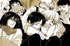 Awww Jean is hugging Eren & Armin awww Attack On Titan Comic, Attack On Titan Season, Attack On Titan Fanart, Armin, Eren And Mikasa, Anime Girl Neko, Anime Manga, Anime Websites, Eremika
