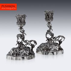 ANTIQUE 20THC PAIR OF GERMAN SOLID SILVER FIGURAL CHAMBERSTICKS C.1900 Art Nouveau Jewelry, Jewelry Art, Silver Earrings, Silver Jewelry, Silver Roses, Flute, Beads, German, Key