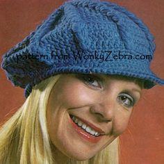 WZ155 crochet hat pattern;baker boy style from Marrine pattern 1688
