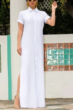 Material: polyester Size: Size Length Bust Waist Hip S M L XL Note: Size: please check measurements carefully Please allow difference due to manual measurement Different monitor settings means colors may differ slight Side Slit Dress, Maxi Shirt Dress, Perfect Prom Dress, Party Shirts, Long Tops, Vintage Shirts, Pattern Fashion, Fashion Boutique, Sleeve Styles