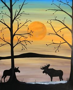 New Painting, Bull moose and cow moose painting, original artwork, 24x30x1.5'' framed acrylic artwork, home decor, wall hanging