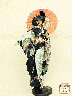 "Kimono Umbrella ""JANOME-KASA"" Red for 1/6 dolls,ornament,wagasa,geisha,maiko #ClothingAccessories"