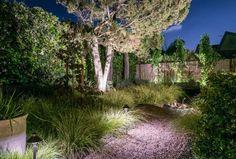 bornes lumineuses et projecteurs LED extérieurs dans le jardin