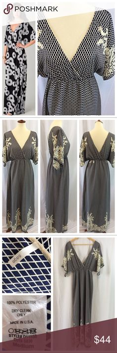 """Sage Double-V Maxi Dress Navy and ivory print stunning maxi dress.  Deep-V necklines on both front and back, simple elastic waist and long Maxi length; wide sleeves. Size M, 14.5"""" from shoulder seam to waist, 44"""" skirt length. Excellent condition. Dresses"""