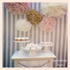 Melanie Collection- 5 pom poms- blush and gold tones/ vintage wedding/ girl baby shower decoration. $20.00, via Etsy.