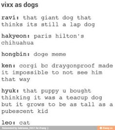 VIXX as dogs aaaand then there's Leo lol