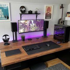 Computer Desk Setup, Gaming Room Setup, Pc Setup, Home Office Setup, Home Office Design, Office Desk, Bedroom Setup, Led Stripes, Desk Inspiration