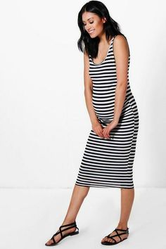 7c23c62e45c BOOHOO MATERNITY MIDI BODYCON 2 Black White ELLIE STRIPE STRAPPY Tank Dress   affilink Boohoo Maternity