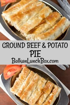 Ground beef and potato pie (slagani sareni burek) Ground beef and potato pie with phyllo is a baked pastry with a filling, similar to the recent spinach pie. Since we'll be using phyllo from the box, it can be on your table in one hour. Phyllo Dough Recipes, Pastry Recipes, Cookbook Recipes, Halal Recipes, Curry Recipes, Greek Recipes, Potato Recipes, Healthy Recipes, Ground Beef And Spinach