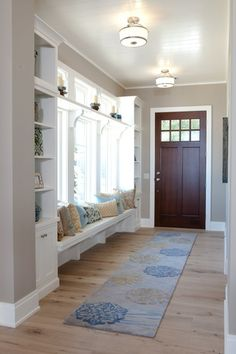 Traditional Entryway with Hardwood floors, Window seat, Glass panel door, Crown… Hardwood Floor Colors, Light Hardwood Floors, Design Apartment, Entry Way Design, Bookshelves Built In, Deco Design, Mudroom, House Plans, Sweet Home