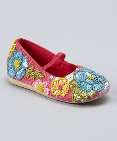 Another great find on #zulily! Hot Pink & Teal Beaded Flower Sequin Flat by Fairy Dreams #zulilyfinds