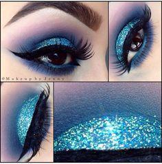 """by @makeupbyjenny """"FROZEN Glitter- """"Blue sky"""" by @glamorouschickscosmetics (makeup seminar July 12 link in our previous post #glamorouschickscosmetics"""