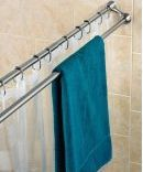 Add a Second Shower Rod for Extra Bathroom Storage. Towels dry quicker when they hang single spread open.