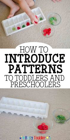 Introducing Patterns to Toddlers and Preschoolers: Introducing Patterns to Toddlers & Preschoolers: Expose your little one to patterns using this how-to activity guide. Kleinkinder und Vorschulkinder Introducing Patterns to Toddlers & Preschoolers Preschool At Home, Preschool Lessons, Preschool Classroom, Toddler Preschool, In Kindergarten, Preschool Curriculum, September Preschool, Preschool Crafts, Preschool Learning Centers