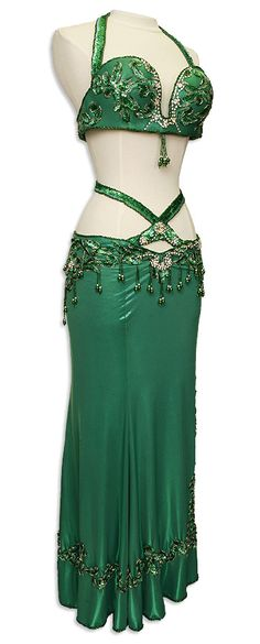 Green Sequined & Jeweled Egyptian Bra & Skirt In Stock Belly Dance Costume - At DancingRahana.com