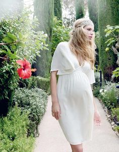 Ivory Flutter Sleeve Maternity Dress   Seraphine