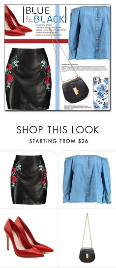 """""""BLUE is the new BLACK !!"""" by emapolyvore ❤ liked on Polyvore featuring Boohoo, Alexander McQueen, Chloé, Casetify, red, Blue and MINISKIRT"""