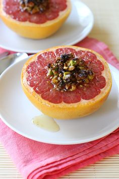 Broiled Red Grapefruit with Honey and Pistachios If you've never enjoyed your grapefruit warm, you are in for a treat. Heating grapefruit ma...