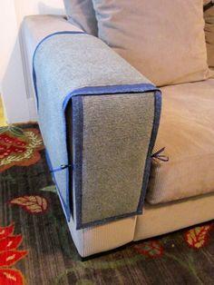So the sofa remains protected from Cat's claw - and also looks good - So bleibt das Sofa geschützt gegen Katzenkrallen, und sieht auch noch gut aus.