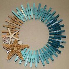 Cute clothes pin beach theme wreath! Love the starfish
