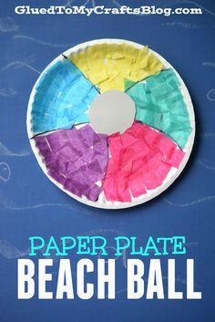 Summer crafts For Preschoolers - Paper Plate Beach Ball Kid Craft