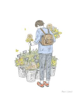 Japanese illustrator Maori Sakai takes our everyday moments in life and turns them into sweet animated illustrations. While her gifs sometimes carry a Flower Sketches, Art Sketches, Art Drawings, Drawing Flowers, Flowers Gif, Gif Animé, Animated Gif, Gifs, Animation