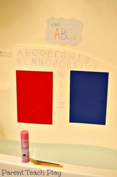 Bath Tub Foam Drawing Board = Cover a Large Craft Foam Sheet with Shaving Cream and Practice the Alphabet!
