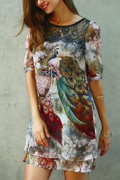 $20.62 Peacock Print Half Sleeve Dress