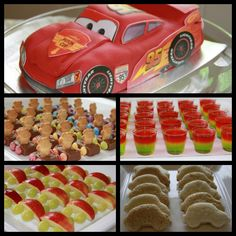 Master H's 3rd birthday Cars themed party. Lightning McQueen cake, Tiny Teddy - Milky Way Cars, Traffic Light Jelly Cups, Apple and Grape Cars, Car Shaped Sandwiches