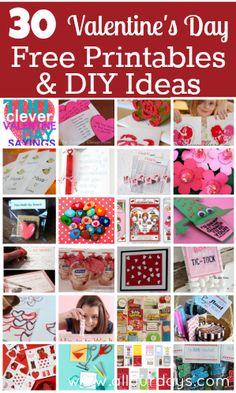 30 Valentine's Day Printables & DIY Ideas for Kids @ AllOurDays.com
