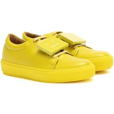 Acne Studios Adriana TurnUp Leather Sneakers (29.060 RUB) ❤ liked on Polyvore featuring shoes, sneakers, yellow, yellow shoes, acne studios, yellow sneakers, genuine leather shoes and leather shoes