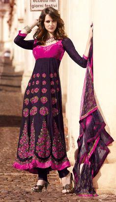 $99.53 Wine And Magenta 3/4 Sleeve Net,Shimmer Designer Salwar Kameez