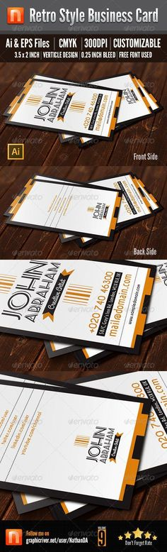 Retro Style Business Card for Personal and Corporate use. Business Cards And Flyers, Vintage Business Cards, Business Card Design, Retro Design, Print Design, Graphic Design, 3d Design, Print Templates, Card Templates