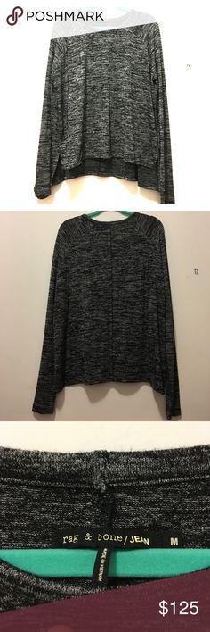 Rag & Bone Sweater Rag & Bone black, grey and white sweater. Longer in the back. Barely worn. rag & bone Sweaters Crew & Scoop Necks