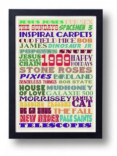 Peel's 1989 Festive 50 Indie Music Typography Wall by indieprints, $15.00