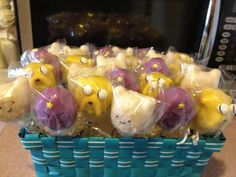 Perfect cake pops for her party this year.  She wants an Adventure Time theme.