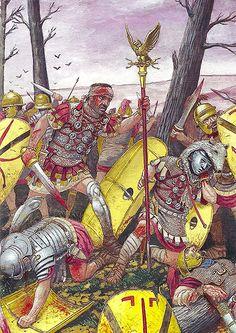Primus pilus defending the eagle, Teutoburg Forest 9 AD