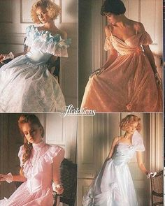 I was obsessed with prom dresses as a preteen and studied the ads in Seventeen. By the time I was old enough for my own prom, I didn't care so much. 1980s Prom, 80s And 90s Fashion, 1974 Fashion, Vintage Outfits, Vintage Fashion, Classic Fashion, Vintage Prom, Prom Dresses, 1980 Dresses