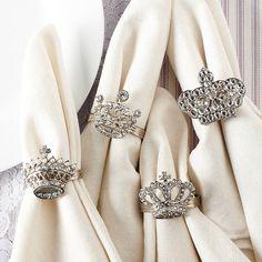 Set Of Four Crown And Tiara Napkin Rings